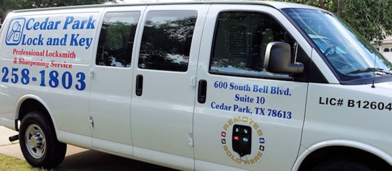 Cedar Park Lock and Key mobile locksmith van that will show up for your service call