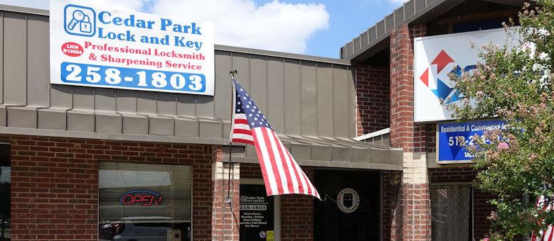 Cedar Park Lock and Key storefront located at 600 S. Bell Blvd #10, Cedar Park, Tx 78613