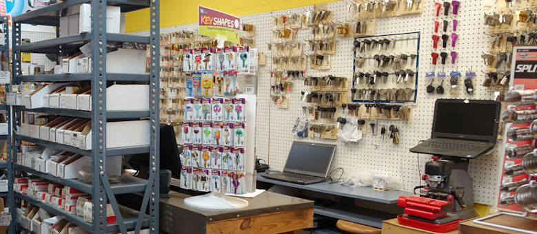 Accessory wall inside the Cedar Park Lock and Key store